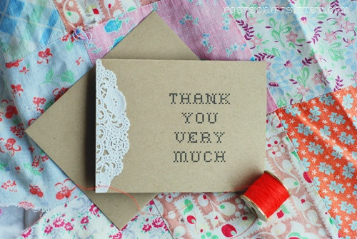 Vintage Lace Doily Thank You Cards  Wedding Baby or by postscripts, $1.50