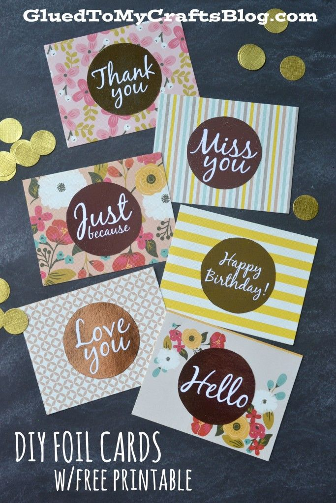 DIY Foil Cards w/free printable