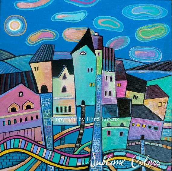 """Art Print from original watercolor painting """"City at Night"""" by sublimecolors (Elina Lorenz) on Etsy"""