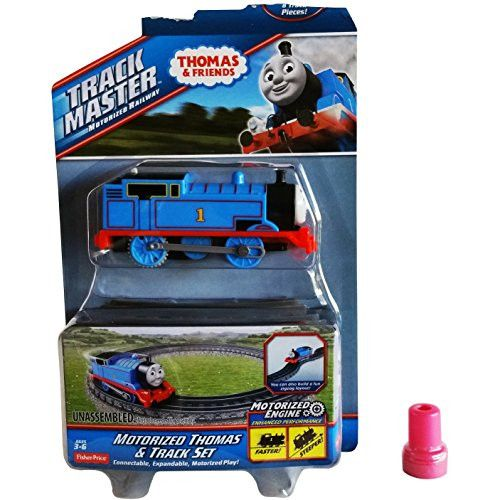 10 Pc. Fisher Price Motorized Thomas the Train & 8 Track Pieces Motorized Thomas & Track Set w/ Zigzag Layout Capability & 1 Assorted Thomas Stamp - Track Master Motorized Railway