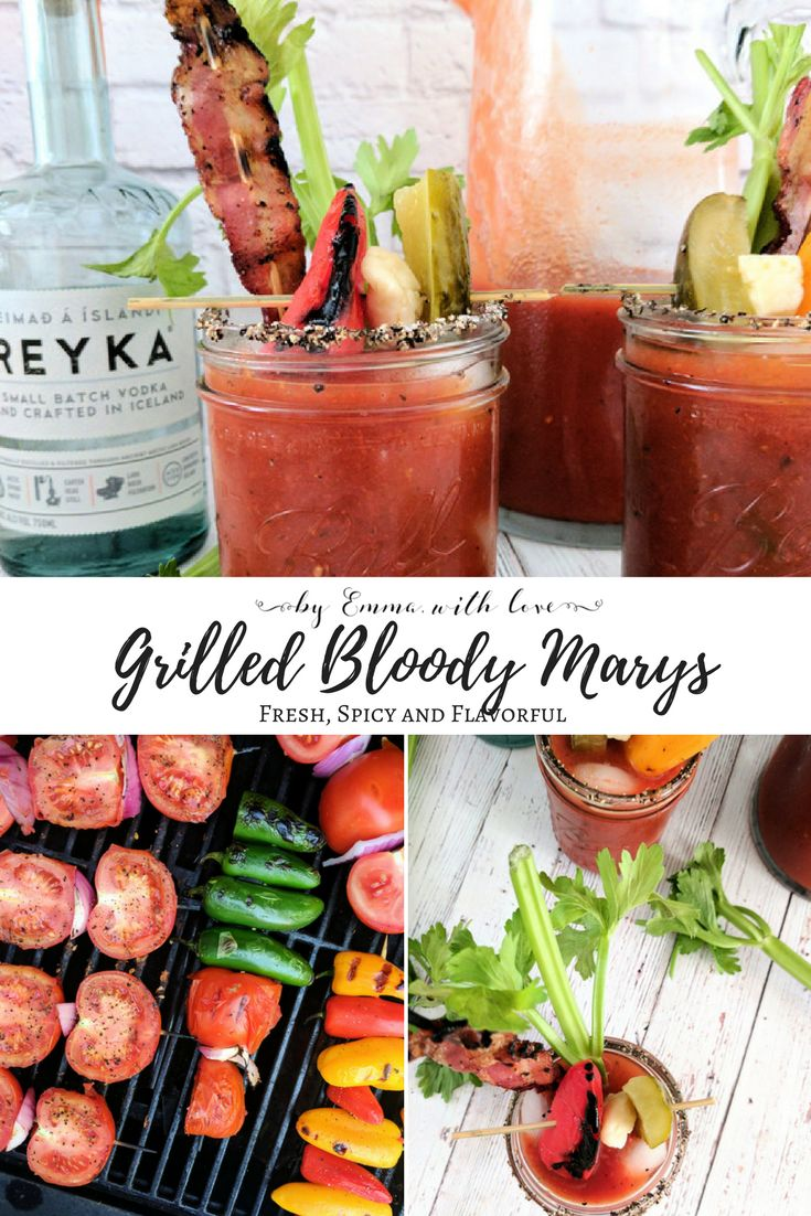 Perfect for summer get togethers - a homemade Bloody Mary mix with fresh grilled vegetables and just the right amount of spice.   By Emma, With Love