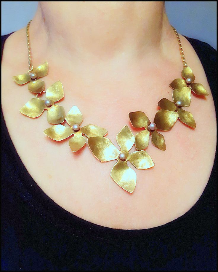 Golden Orchid, bib necklace, romantic, wedding, gift, retro, boho, row brass, unique, bridal, rose pearls, nostalgic, stylish, elegant by KatalinaArt on Etsy