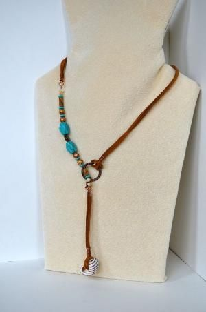 Suede Lariat Necklace with Natural Seashell Pendant by TheCreativePhysician on Etsy, $24.00 by fanny