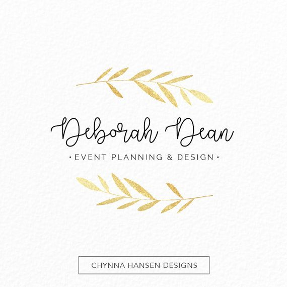 Simple Gold Logo  Laurel Logo  Gold Leaves  by ChynnaHansenDesigns