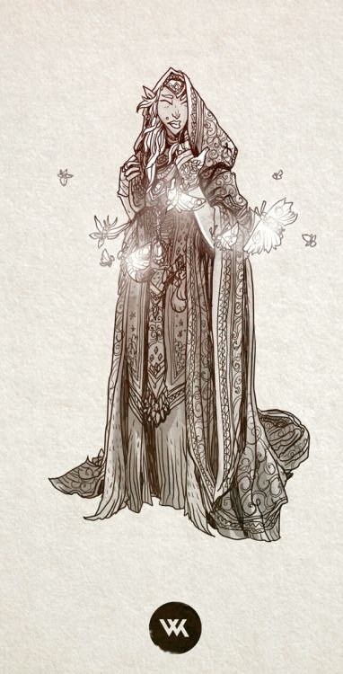 "A high elf warlock in service of the arch-fey named ""The Lady of Moths and Forgotten Things""."