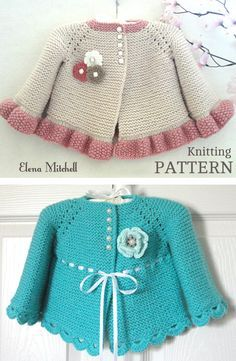 Knitting Pattern for Garter Stitch Baby JacketBaby cardigan knit in garter stitch with options for knit edging or crochet edging. Sizes 0 – 3 months and 3 – 6 months. Worsted weight yarn