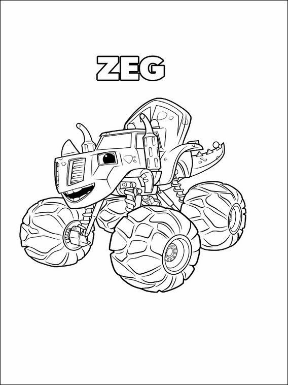 blaze and the machines coloring pages 12