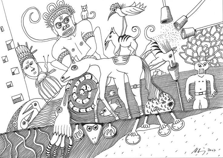 """""""nightmare"""", #Zeichnung #Pigmenttusche (Staedtler Pigment Fineliner) auf #Hahnemühle #Papier """"Nostalgie"""", 190 g/m2 21 x 29,7 cm, © #matthias #hennig 2017    """"nightmare"""", #india #ink #drawing (Staedtler Pigment Fineliner) on Hahnemühle #paper """"Nostalgie"""",190 g/sqm 21 x 29,7cm, © #matthias #hennig 2017 #myStaedtler #hennigdesign #artwork #moremoneyforartists #iwantmore"""