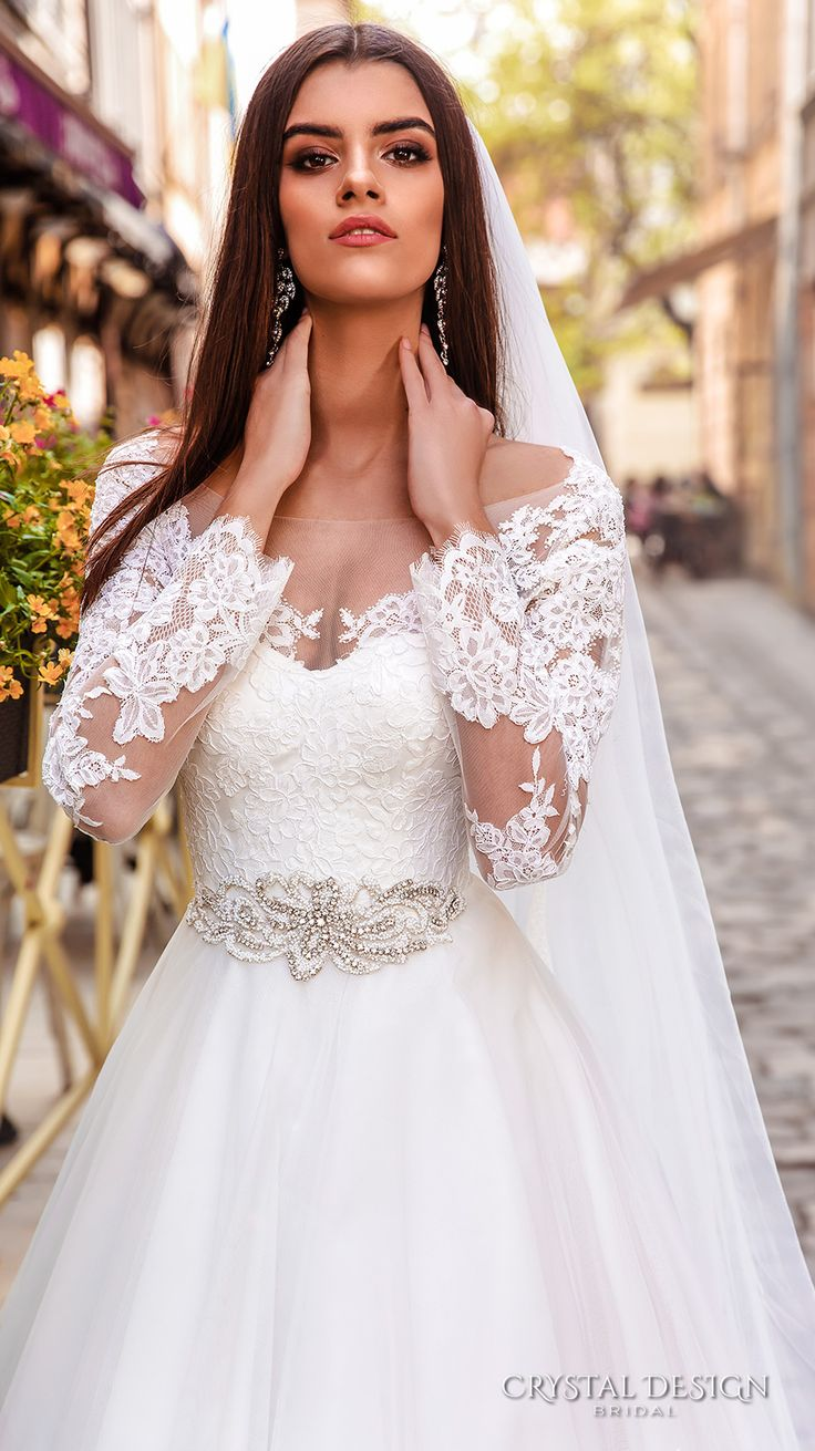 crystal design bridal 2016 sheer long sleeves sweetheart neckline heavily embellished bodice belt princess ball gown wedding dress chapel train (modena) zv