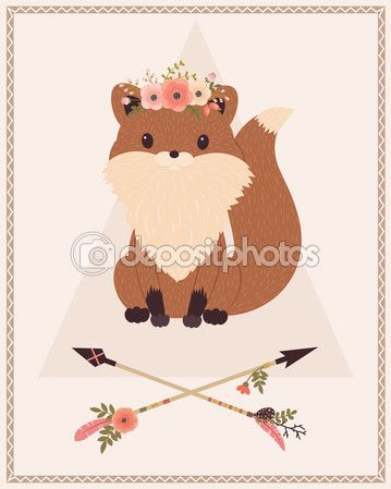 Скачать - Лиса в цветочный венок и стрелы - Stočková иллюстрации # 120182038