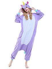 Kigurumi Pajamas Unicorn Leotard/Onesie Festival/Holiday Animal Sleepwear Halloween Purple Pink Sky Blue Animal Print Polar Fleece – AUD $ 102.23