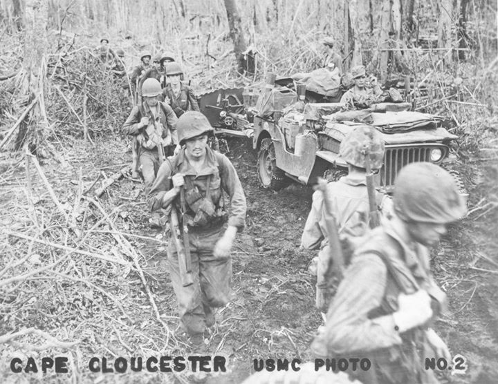 Men of the US First Marines Division at Cape Gloucester New Britain Bismarck Archipelago circa late December 1943.