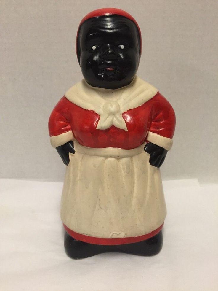 "Ceramic Bank Black Americana Aunt Jemina Red White Apron 8.5"" Tall"