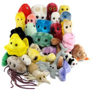 """Infectuously Cute Plush Microbes!  Most folks never realize how cute microbes can be when expanded 1,000,000 times and then fashioned into cuddly plush. Until now, that is. Keep one on your desktop to remind yourself that there is an """"invisible"""" universe out there filled with very small things that can do incredible damage to much bigger things. Then go and wash your hands. Lather, rinse, repeat."""