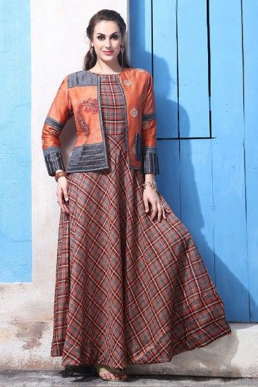 2b1d57948a Shop Newarrival Latest Designer Partywear Chanderi and cotton Anarkali gown  With Printed Work - DMV12542 for women online p…