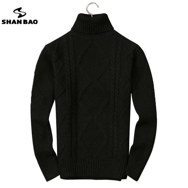 Top Offers $68.00, Buy Men's high-neck sweater 2017 winter new luxury high-quality thick warm Slim stretch men's casual pure color wool sweater 8836