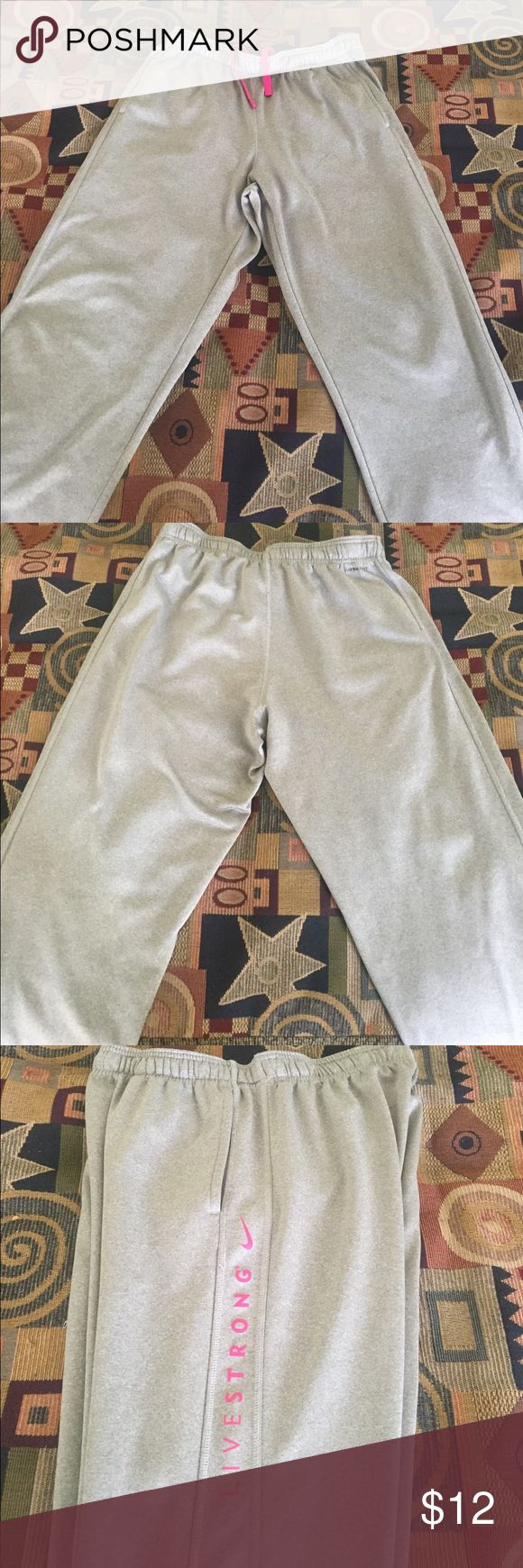 Nike Livestrong Therma Fit Joggers Silver Nike Livestrong Therma Fit joggers. Size Large. Good Condition. Open to Offers Nike Pants Sweatpants & Joggers