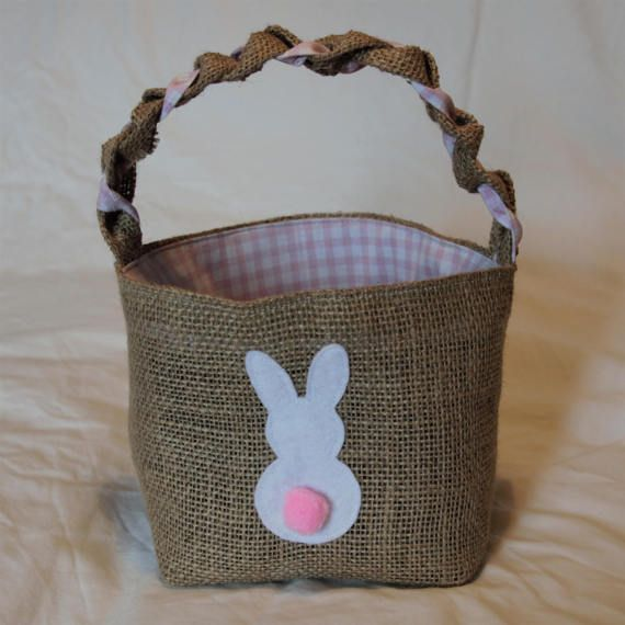 Hessian Easter egg basket with pink check lining and by JuteAlors