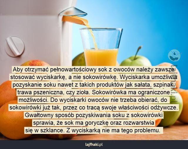 Lajfhaki.pl - Aby otrzymać pełnowartościowy sok z owoców należy zawsze stosować wyciskarkę, a nie sokowirówkę. Wyciskarka umożliwia pozyskanie soku nawet z takich produktów jak sałata, szpinak, trawa pszeniczna, czy zioła. Sokowirówka ma ograniczone możliwości. Do wyciskarki owoców nie trzeba obierać, do  sokowirówki już tak, przez co tracą swoje właściwości odżywcze. Gwałtowny sposób pozyskiwania soku z sokowirówki sprawia, że sok ma goryczkę oraz rozwarstwia się w szklance. Z wyciskarką…