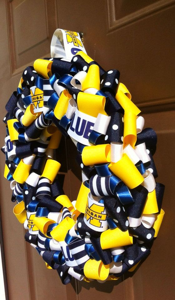 Michigan Wolverines Wreath Ribbon Front Door by WeHaveWreaths