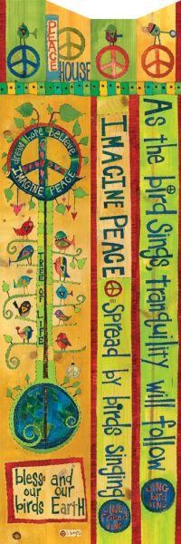 Peace Pole Graphics | Peace 6' Birdhouse Art Pole - Thumbnail 2
