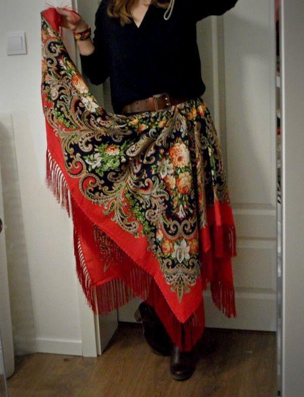 spódnica z chusty, spódnica z koła, spódnica z frędzlami, spódnica folk