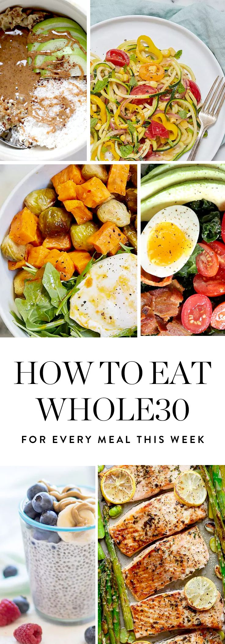 Presenting a week's worth of delicious Whole30 ideas for breakfast, lunch and dinner.