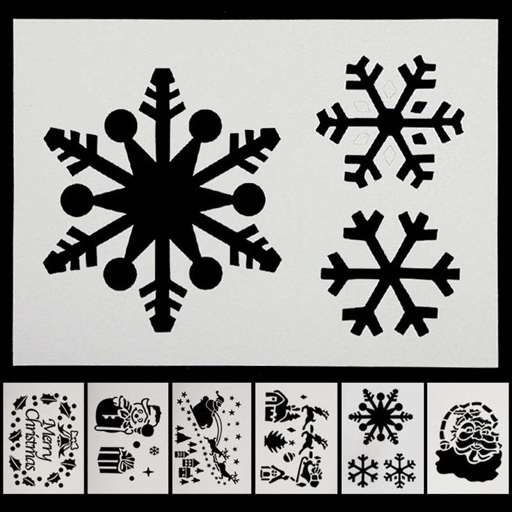 6Pcs/Set New Year Christmas Spray Pattern Santa Snowflake Window Christmas Ornaments Xmas Decoration Snow Template