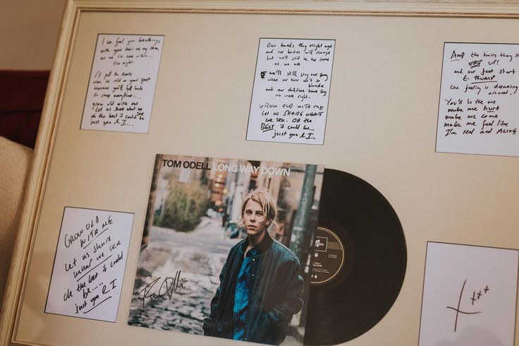 One the best wedding gifts ever - from the groom to the bride of their first dance from the artist, Tom Odell. Photo by Benjamin Stuart Photography #weddingphotography #weddinggift #firstdance #tomodell #withlove #lyrics #framedmusic