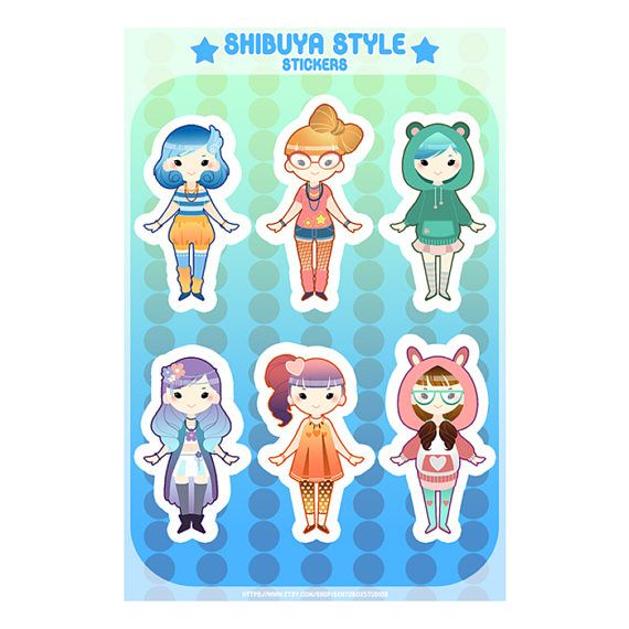 Shibuya Style Waterproof 4x6 Sticker Sheet for Planners