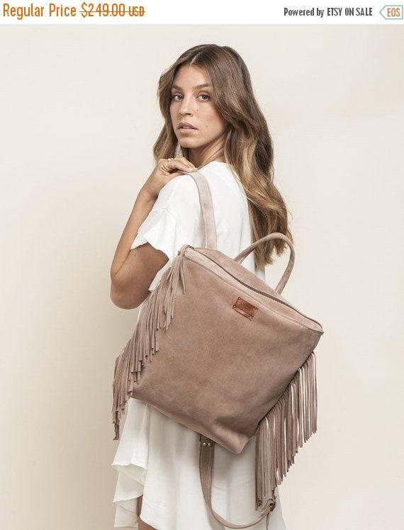 On Sale Fringe Leather Backpack, School backpack, Laptop Backpack, School bag, Women Backpack, Free Shipping!