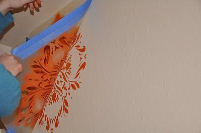 DIY wall stencil: Make A Stencil, Homemade Wall Stencil, Make Stencil, Homemade Decoration, Stencil Idea, Diy'S Casa, Decoration Idea, Wall Decoration, Homemade Stencil