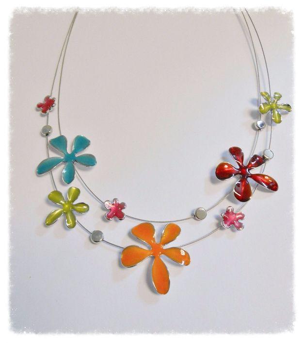 Lagenlook Jewellery: Lagenlook Vibrant Enamel Flowers Necklace