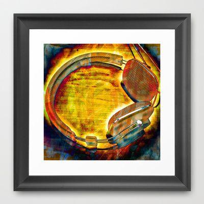 Headphones III Framed Art Print by AngelEowyn - $34.00