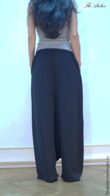 Купить Повседневные шаровары/Свободные брюки/F087 - черный, брюки, штаны, шаровары, одежда для женщин, модная одежда