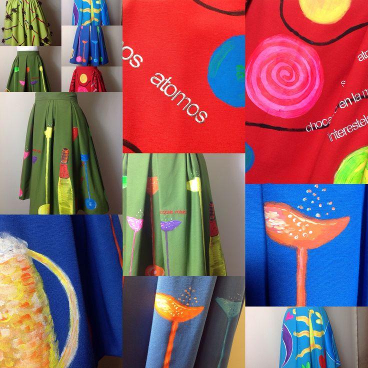Faldas pintadas a Mano por Aurora Salguero y bordadas en hilo de seda . poemas de Esti Rubi Www.ladysabel.com