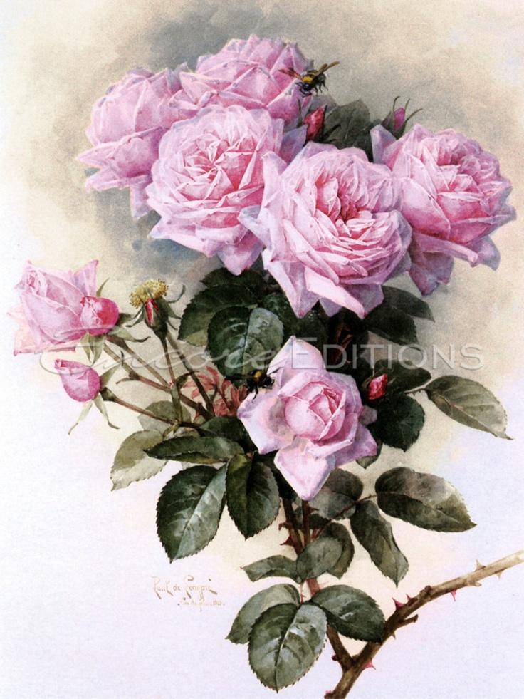 Paul De Longpre - Paul De Longpre - Roses and Bumblebees Painting