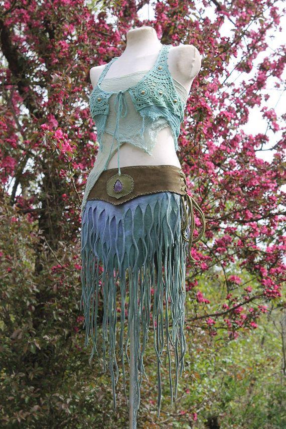 the aquarian tribal mermaid warrior skirt in olive by linusmanus
