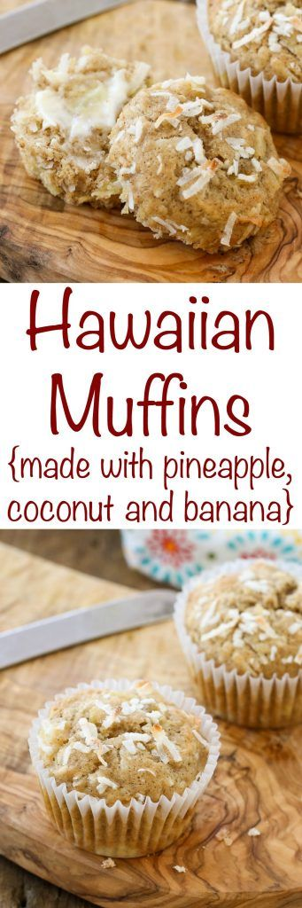 Hawaiian Muffins made with pineapple, banana, and coconut are a hit with everyone! get the recipe at barefeetinthekitchen.com