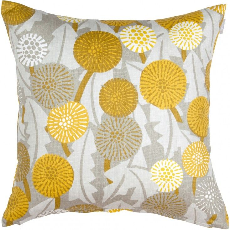 Spira Maskros Yellow Cushion Cover from Hus & Hem.  They may not be a welcome sight in the garden, but Spira's pretty Maskros cushion with its striking dandelion print will certainly liven up your home.  Spira of Sweden's Maskros cushion features a botanical print in harmonious shades of dandelion yellow, ochre, mustard and putty grey.  Mix and match Maskros with the complimentary Bubbla and Dotte cushions, to name just a few of Spira's many patterns that create a colour happy Scandinavian…