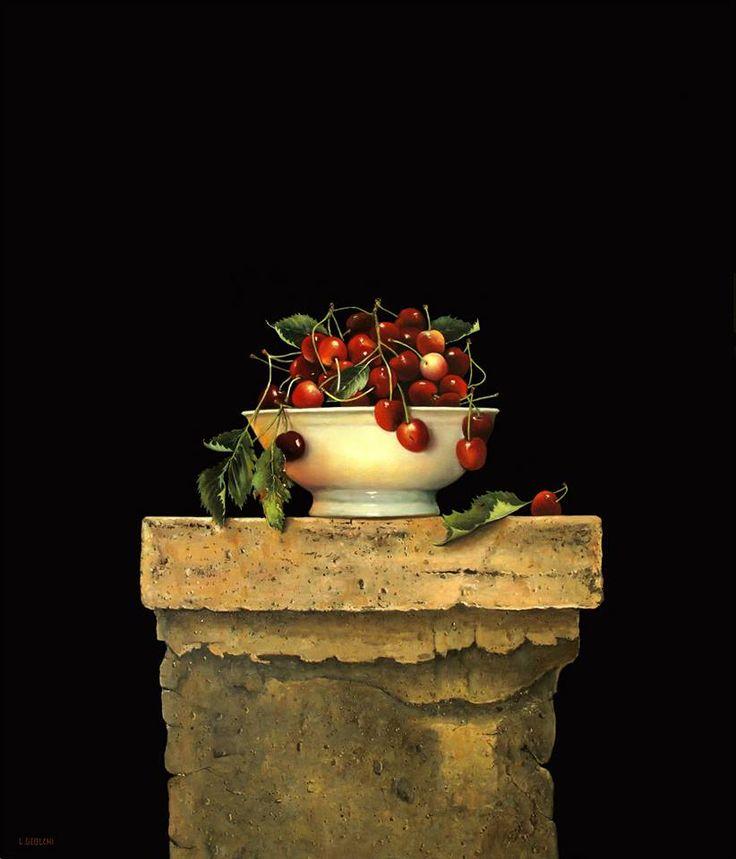 Autore : Luigi Beolchi  Titolo : Profumo di ciliegia Tecnica : Olio su tela Misure : 70x60 cm