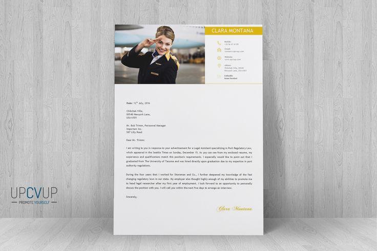 Cabin Crew § Flight Attendant Modern Resume CV Template + Cover Letter  Design For Word |