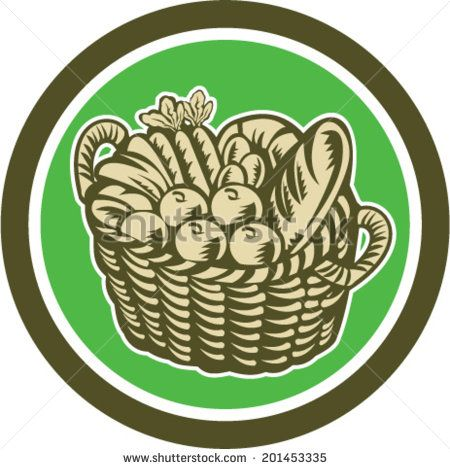 Illustration of a wicker basket full of crop harvest field with festive fruits, vegetables and bread set inside circle done in retro woodcut style on isolated background. - stock vector #vegetables #woodcut #illustration