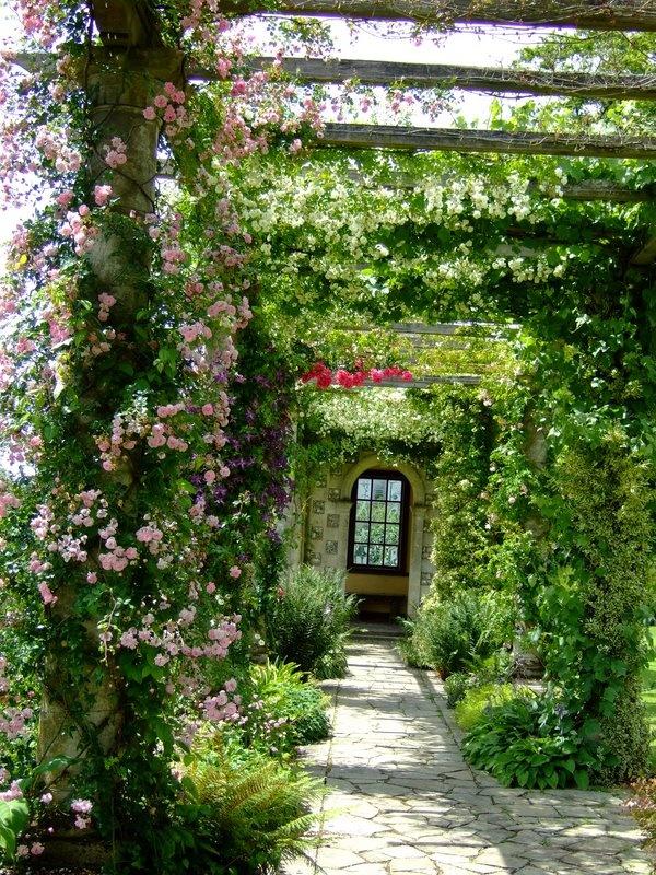 West Dean Gardens - I just love pink climbing roses! https://www.westdean.org.uk/gardens