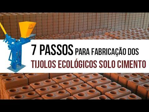 Português Etapas de fabricação dos tijolos solo cimento: 1 – Preparar o solo utilizando um triturador de solo, modelo Jag, para homogeneizar a mistura do sol...