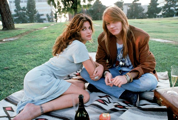 """Stephanie & Axl Rose during the making of """"Don't Cry"""", 1991."""