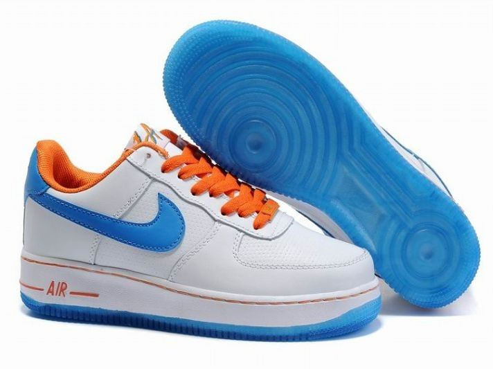 nike dunk de la soul sb - Vente Baskets Nike Air Force 1 Low Cuir - Blanc Bleu Orange ...