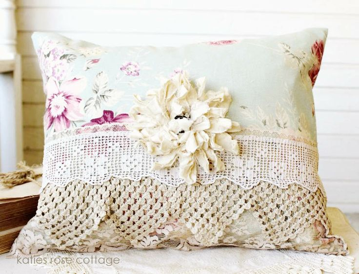 "Vintage Pillow w/Tattered Muslin Rose, 23 x 11"", 43.00 + Ship - http://www.katiesrosecottagedesigns.com"