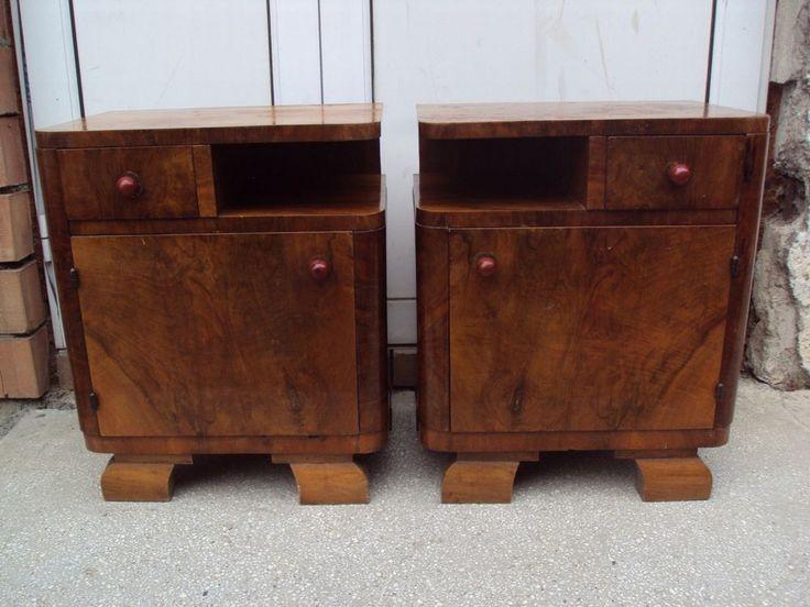 Antique French Art Deco Nightstands pair, walnut, ca. 1930