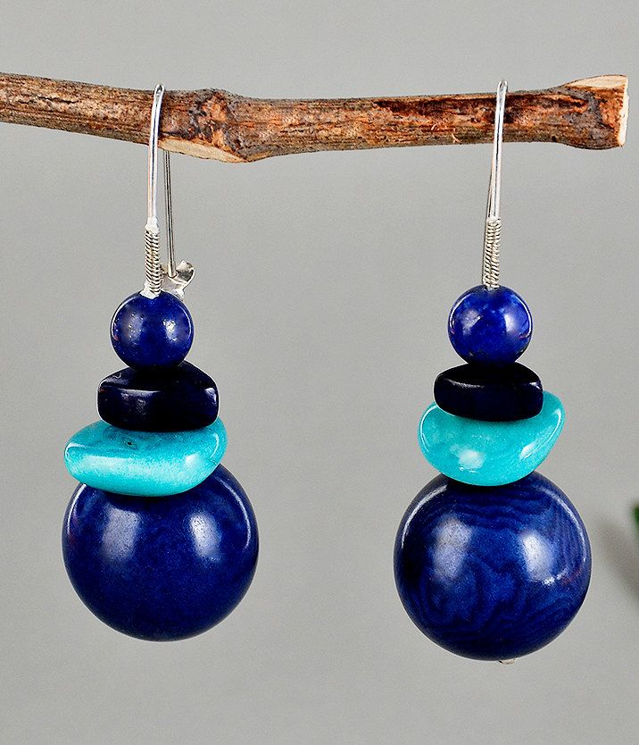 Silver earrings with navy blue tagua nut, drop earrings with blue and turquoise vegetable ivory nut, tagua nut earrings with lapis lazuli by NataliaNorenasilver on Etsy
